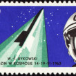 Postage stamp with soviet spaceship Vostok-5 and cosmonaut Valery Bykovsky — Stock Photo