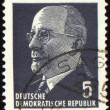 Walter Ulbricht portrait on postage stamp - Stock Photo