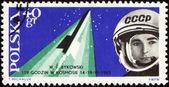 Postage stamp with soviet spaceship Vostok-5 and cosmonaut Valery Bykovsky — Stock Photo
