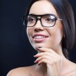 Girl with stylish glasses and teeth braces — Stock Photo #7519904