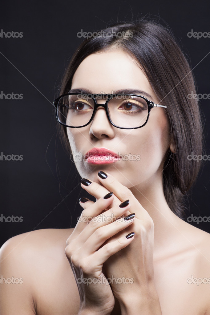 Fashionable beauty shot of girl with stylish glasses   Stock Photo #7525129