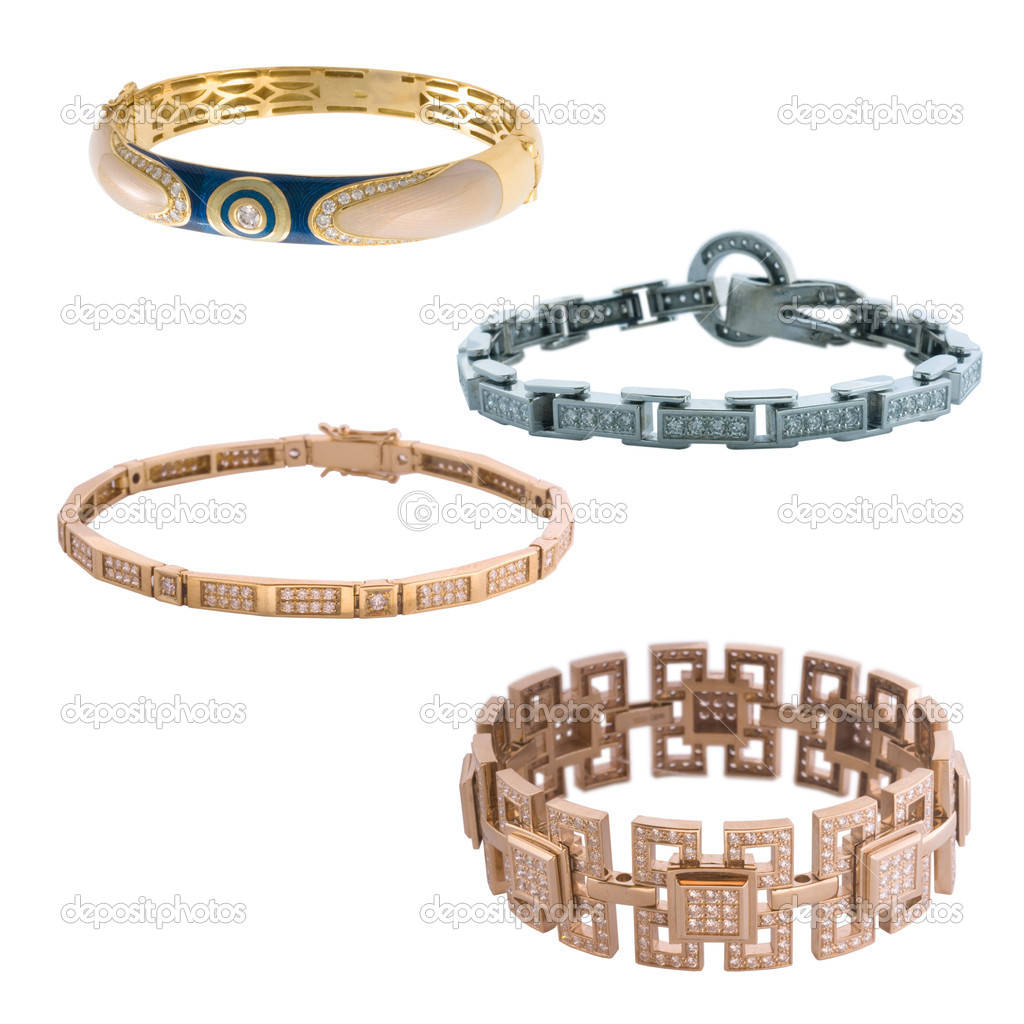 Isolated photo of four luxury charming bracelets on a white background — Stock Photo #7793755