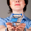 Business woman is holding shopping cart — Stock Photo #6979960