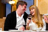 Couple at restaurant — Foto Stock