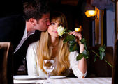 Couple at restaurant — Foto Stock