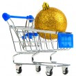 Cart with red gift box — Stock Photo