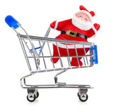 Santa Claus in chopping cart — Stockfoto