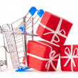 Shopping cart with gifts - Stock Photo