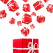 Flying red gift boxes — Stock Photo #7813396