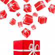 Royalty-Free Stock Photo: Flying red gift boxes