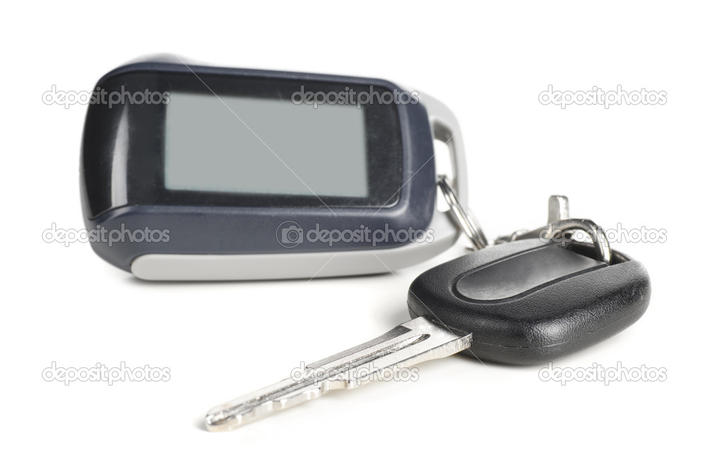 Car key with remote control cut out from white  Stock Photo #7813284