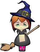 Young witch on a broomstick in the air — Stock Vector