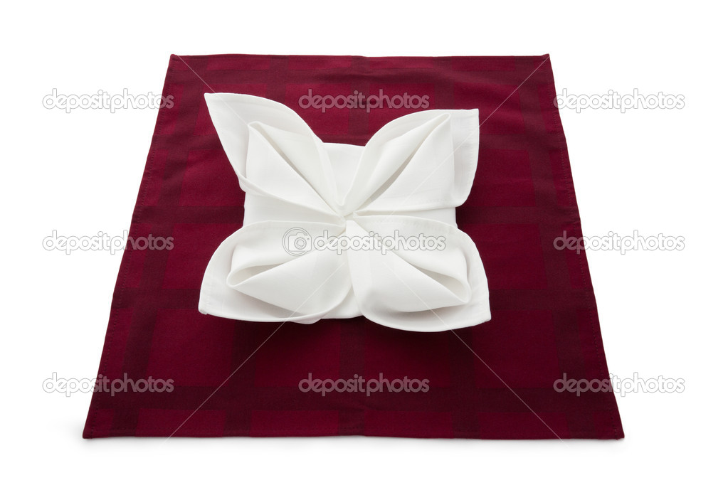 Linen napkin beautifully decorated on white background — Stock Photo #7193685