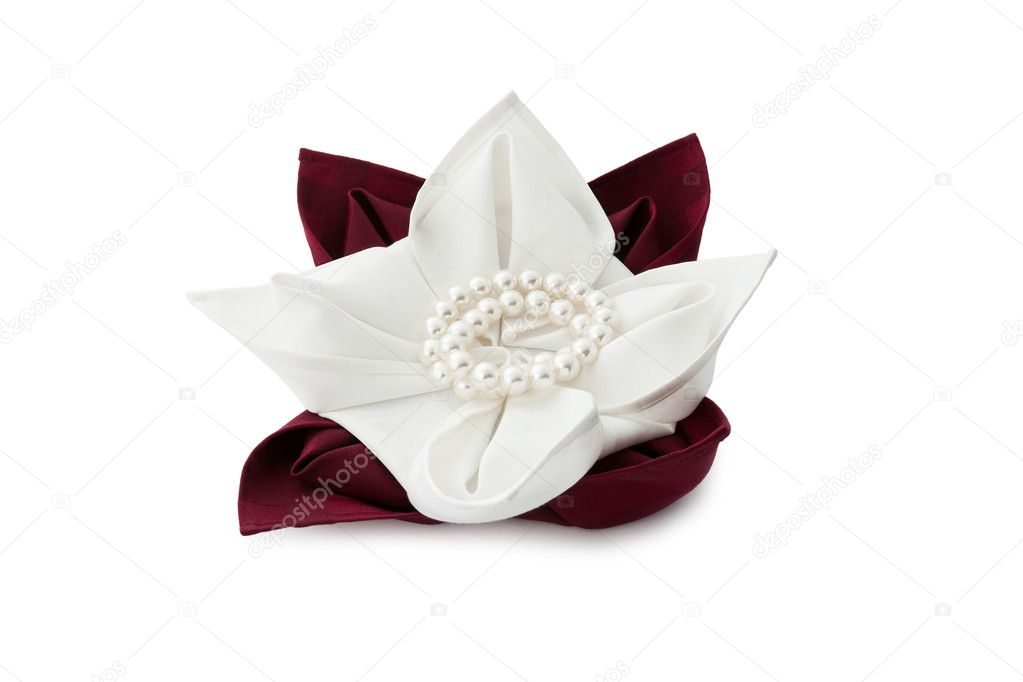 Linen napkin beautifully decorated on white background — Stock Photo #7193690