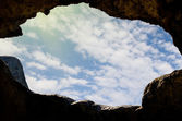 View through the window of the cave dwellings — Stock Photo