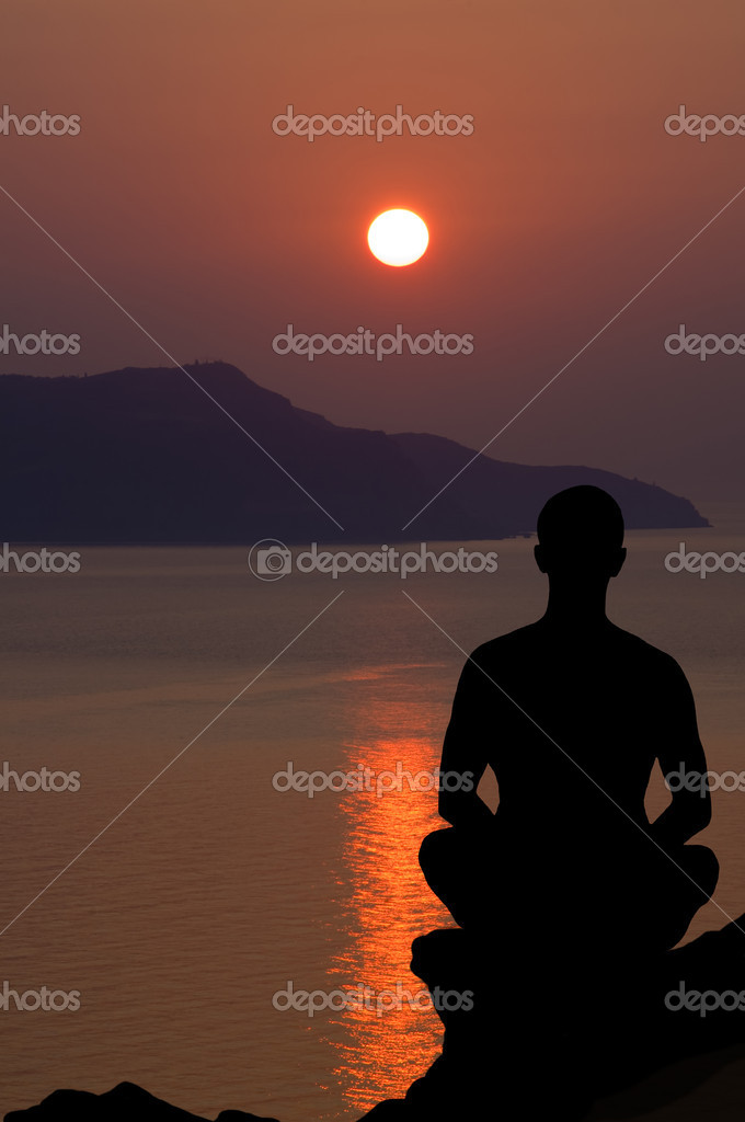 Meditation at the sunset. Seascape composition.  Stock Photo #7201464