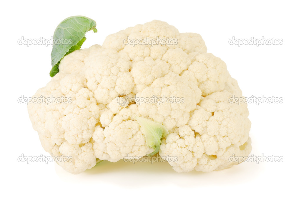 Fresh cauliflower with leaves on a white background  Stock Photo #6813855