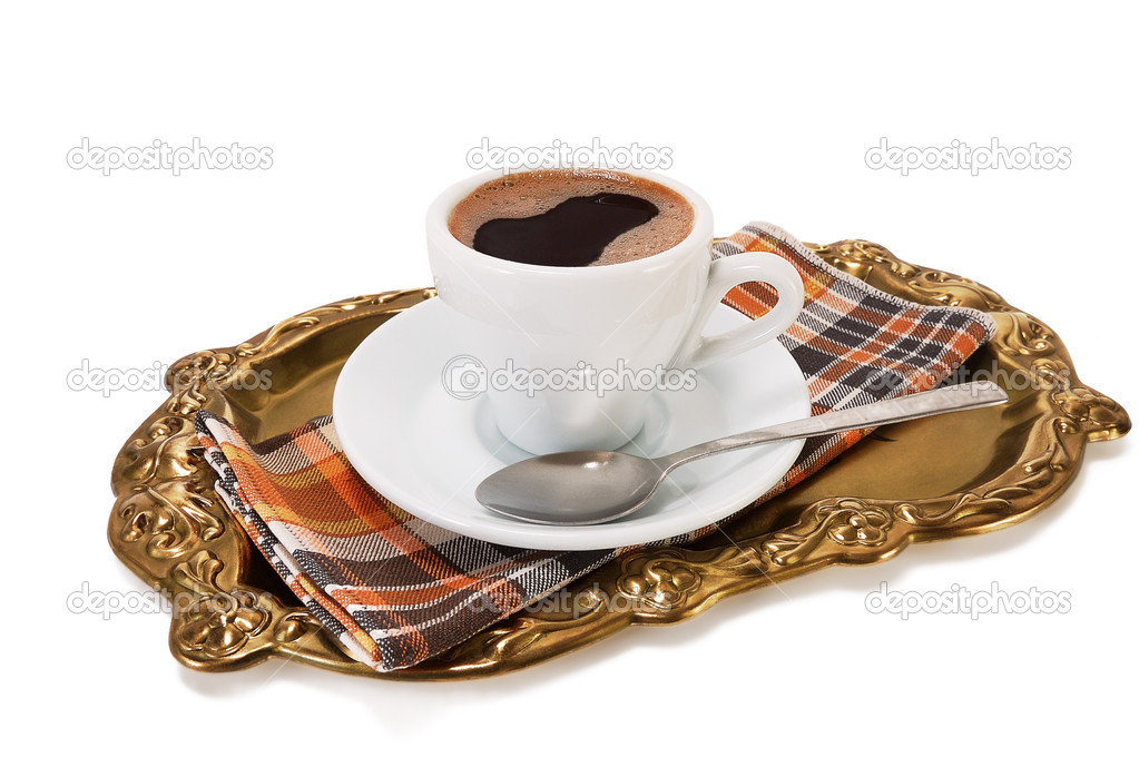 Tray with a cup of coffee on a napkin on a white background — Stock Photo #6813866
