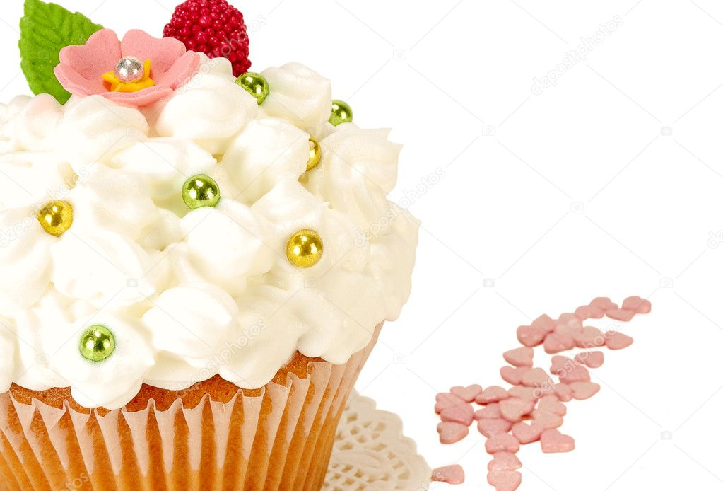 Cake decorated with whipped cream  Stock Photo #7263453