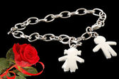 Metal bracelet for Valentine's — Stock Photo