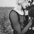 Young goth couple outdoors — Foto de stock #6912381
