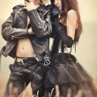 Young goth couple portrait — Stock Photo