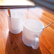 Two cups on table — Stock Photo