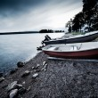Lake bank with boats - Stock Photo