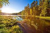 Solnedgång över liten sjö — Stockfoto
