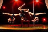 Three women acrobatic show — Stock Photo