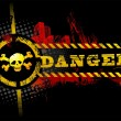 Black Urban Grunge Danger Skull - Stock Vector