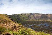 Dramatic Volcano crater near Orongo vilage, Easter Island — Stock Photo