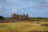 Easter Island Statues under blue sky — Stock Photo