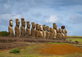 Easter Island statues in line — Stock Photo