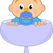 Baby boy with nipple in blue glass - vector comic illustration isolated on white background — Stock Vector