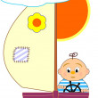 Sailboat and sailor boy - cartoon illustration. — Stock Vector