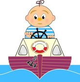 Lifeguard, Motor boat and sailor boy - vector cartoon illustration Isolated on white background — Stock Vector