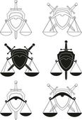 Set of emblems - shield, sword and scales - - symbols of law, order, justice, court. Armorial symbols. Isolated illustration (black silhouettes, contours) on white background — Stock Vector
