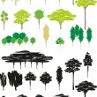 Vector color illustration isolated trees cartoon set of silhouettes — Stock Vector
