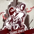 Grungy poster with two gangsters - Stock Vector