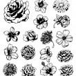 Set of grungy flowers — Stock Vector #7349975