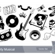 Set of dirty grunge elements for musical design — Stock Vector
