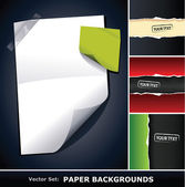 Vector set of paper backgrounds — Stock Vector