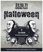 Grungy poster for halloween party — Stock Vector