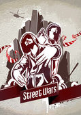 Grungy poster with two gangsters — Vector de stock