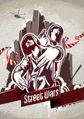 Iki gangster grungy poster — Stok Vektör
