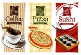 Mall mönster mat banners — Stockvektor