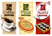 Template designs of food banners — Stok Vektör