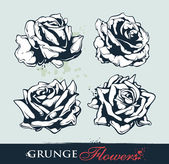 Set of grungy flowers — Stock Vector