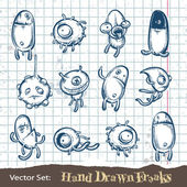 Set of hand drawn freaks — Stock Vector